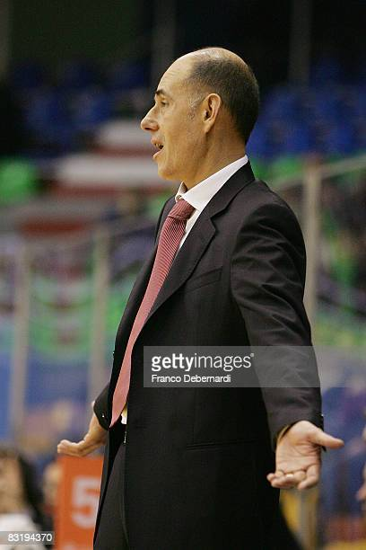 Attilio Caja, coach of Armani Jeans Milano reacts during the Euroleague Basketball game 9 between Armani Jeans Milano v Efes Pilsen Istanbul at the...