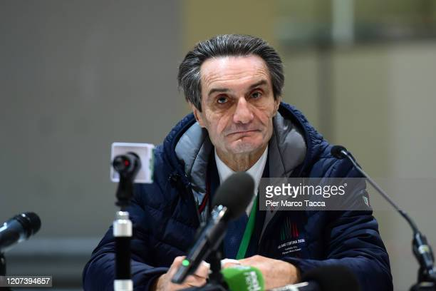 Attilio Fontana, Governor of the Lombardy Region attends the press conference to present the project of the pavilion at the Fiera di Milano which the...