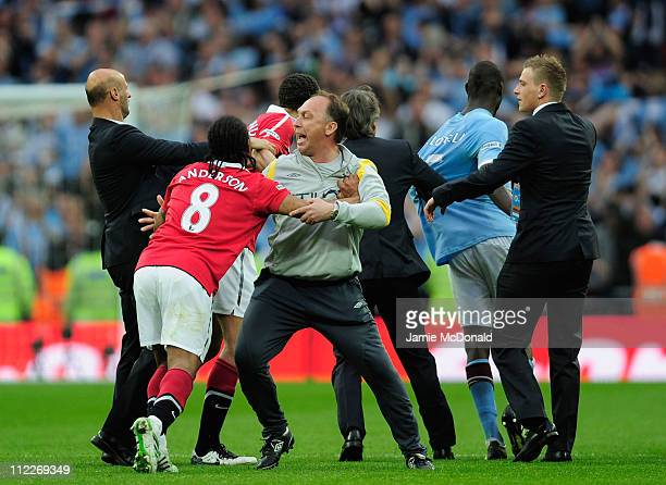 Attilio Lombardo and David Platt of Man City clashes with Anderson of Man Utd at the final whistle during the FA Cup sponsored by EON semi final...