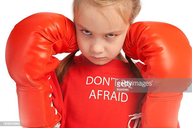 Attitude girl with red boxing gloves