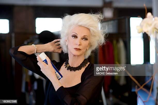 Attitude of the American supermodel Carmen Dell'Orefice lacquering hair Styling Rick Ramsey Makeup Yuko Takahashi