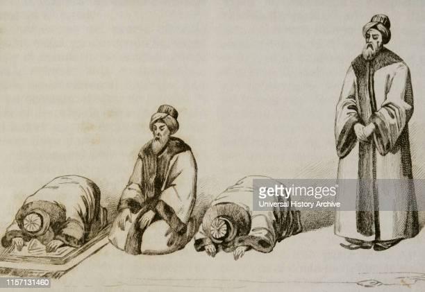 Attitudes of a Muslim during the prayer called Namaz. Engraving. Panorama Universal. History of Arabia, 1851.