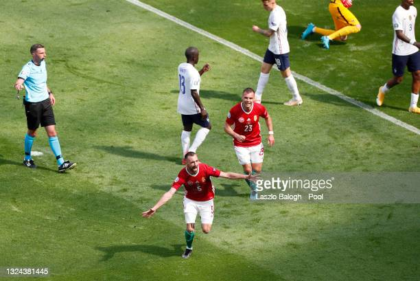 Attla Fiola of Hungary celebrates after scoring their side's first goal during the UEFA Euro 2020 Championship Group F match between Hungary and...