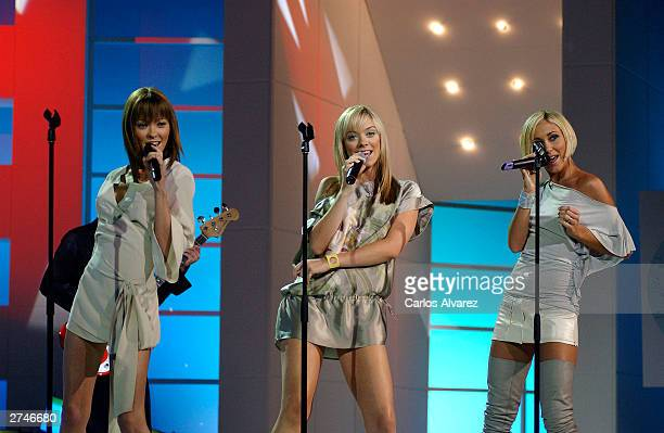 Attomic Kitten perfoms during the FAO gala in TVE Channel on November 19 2003 in Madrid Spain