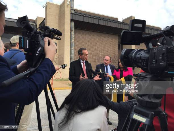 Attorney Albert Watkins, who represents the man who released stunning audio concerning Gov. Eric Greitens, speaks with reporters outside the...