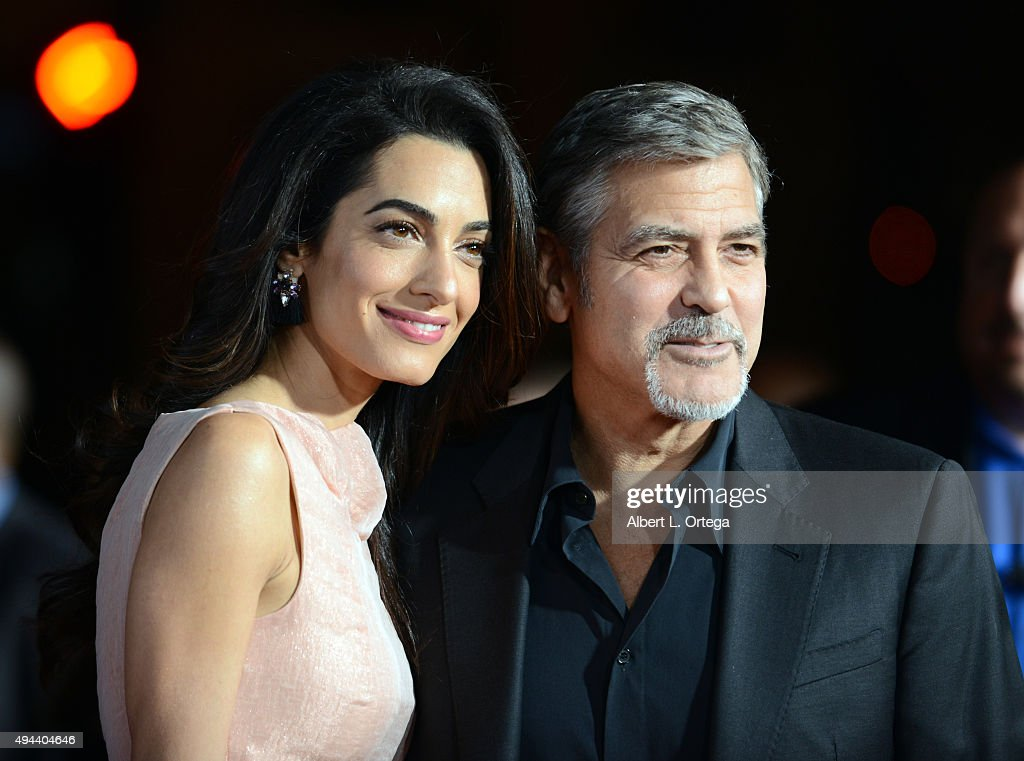 Attorney Amal Alamuddin and actor/producer George Clooney arrive for the Premiere Of Warner Bros. Pictures' 'Our Brand Is Crisis' held at TCL Chinese Theatre on October 26, 2015 in Hollywood, California.