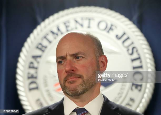 Attorney Andrew E. Lelling gave a press conference at the Moakley Courthouse in Boston on Dec. 11, 2020. He spoke in regard to Massachusetts State...