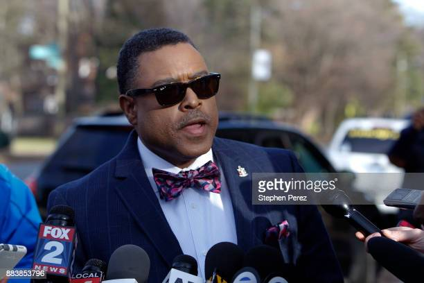 Attorney Arnold Reed speaks with the media outside Rep John Conyers home on December 1 2017 in Detroit Michigan Reed is representing the embattled...