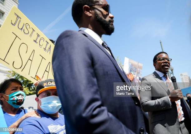 Attorney Austin Dove speaks during a protest over the shooting of Isaias Cervantes, a hearing impaired and autistic 25-year-old, at a demonstration...