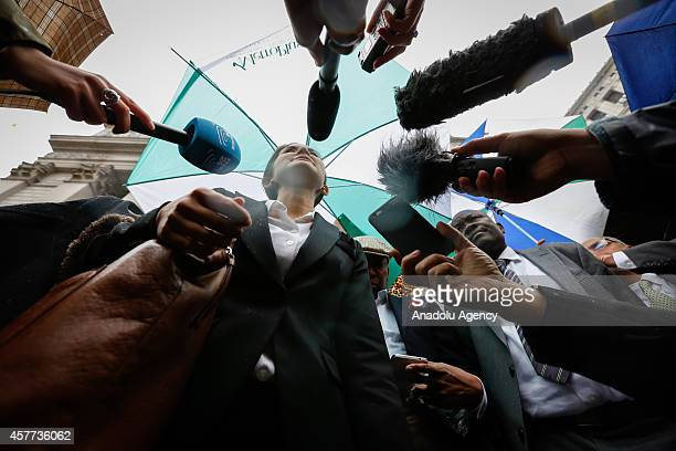 Attorney Beatrice Lindstrom of the Institute for Justice and Democracy in Haiti speaks to reporters outside an United States Courthouse following a...