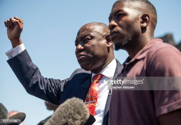 Attorney Ben Crump and Quincy Mason Floyd son of George Floyd speak during a press conference at the site where Floyd was killed on June 3 2020 in...