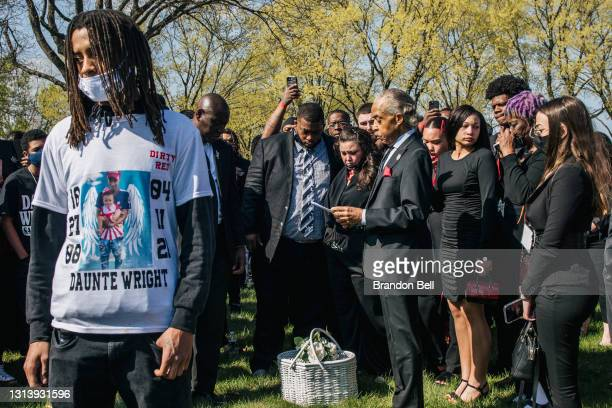 Attorney Ben Crump and the Rev. Al Sharpton participate in funeral services for Daunte Wright on April 22, 2021 in Minneapolis, Minnesota. Wright was...