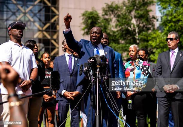 Attorney Ben Crump joins the family of George Floyd for a press conference outside the Hennepin County Government Center after the sentencing of...