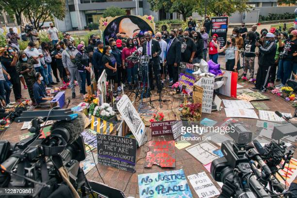 Attorney Ben Crump speaks as activists and members of Breonna Taylor's family hold a news conference at Jefferson Square Park on September 25, 2020...