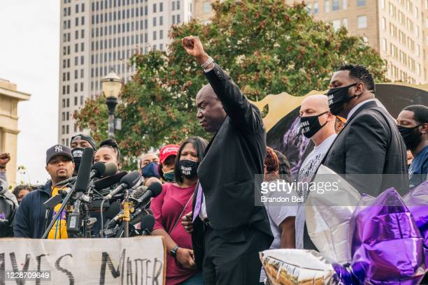 Attorney Ben Crump speaks at a news conference at Jefferson Square Park on September 25, 2020 in Louisville, Kentucky. The news conference addressed...
