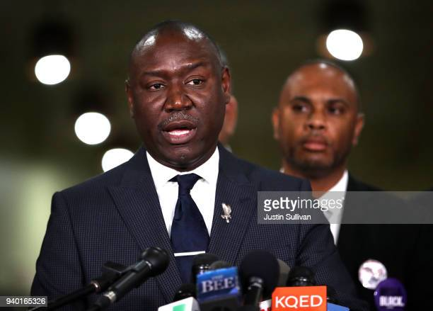 Attorney Ben Crump speaks during a news conference at the Southside Christian Center on March 30 2018 in Sacramento California The legal team for the...