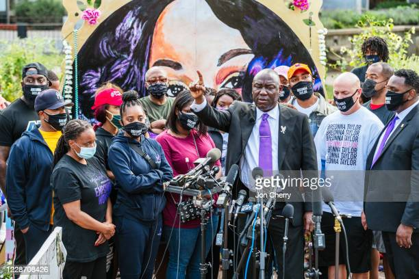 Attorney Ben Crump speaks during a press conference at Jefferson Square Park on September 25, 2020 in Louisville, Kentucky. The press conference...