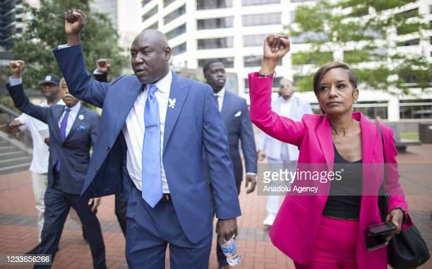 Attorney Benjamin Crump walks to the Hennepin County Government Center before sentencing was announced for former officer Derek Chauvin in...