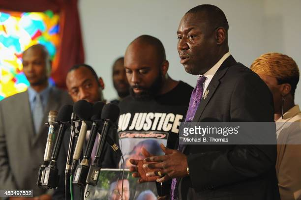 Attorney Benjamin L. Crump speaks to the media during a press conference regarding the shooting death of 18-year-old Michael Brown at Jennings Mason...