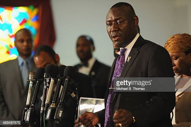 Attorney Benjamin L Crump speaks to the media during a press conference regarding the shooting death of 18yearold Michael Brown at Jennings Mason...