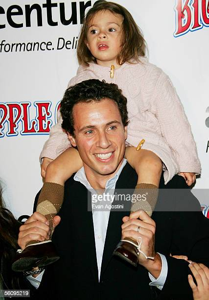 Attorney Chris Cuomo and daughter Bella attend the Big Apple Circus opening night gala benefit at Damrosch Park Lincoln Center on November 04 2005 in...