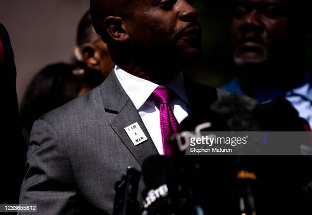 Attorney Chris Stewart speaks during a press conference outside the Hennepin County Government Center after the sentencing of Derek Chauvin on June...