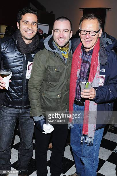 Attorney Christopher Perez publicist Martin Marquet and attorney Michael Donaldson attend the Wrong Premiere and party at Fuego Pizzeria during the...