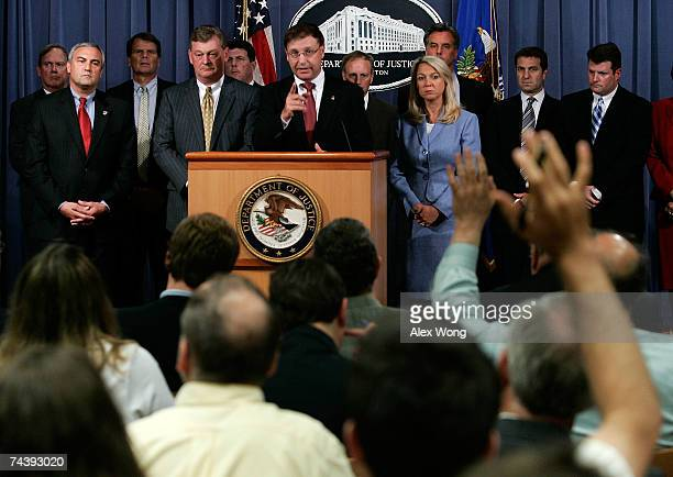 S Attorney Chuck Rosenberg of Eastern District of Virginia briefs reporters after announcing a 16count indictment handed down against US Rep William...