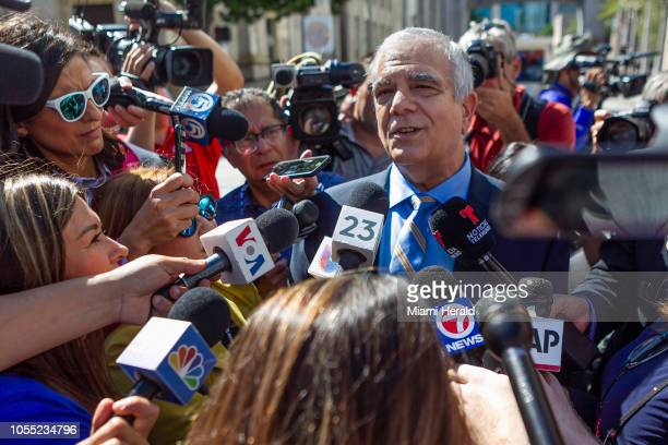 Attorney Daniel Aaronson talks to the media after attending a hearing for his client Cesar Sayoc at the Federal District Court for the Southern...