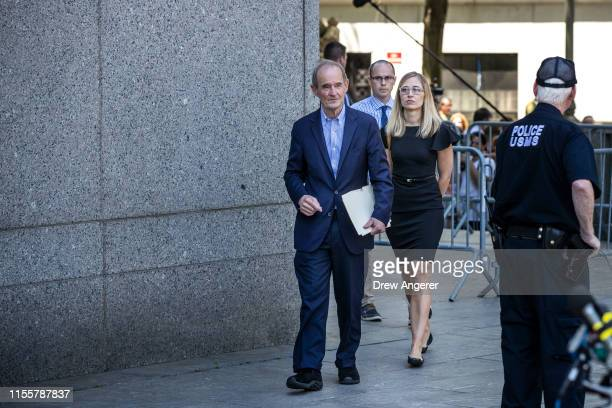 Attorney David Boies representing several alleged victims of Jeffrey Epstein and Annie Farmer alleged victim of Epstein exit federal court following...