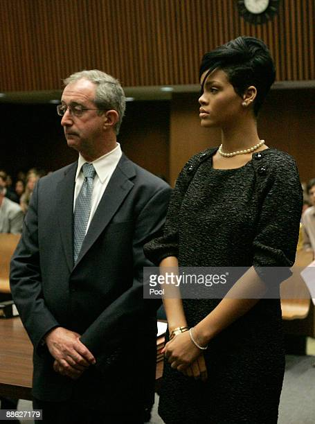 Attorney Donald Etra and singer Rihanna appear at a preliminary hearing at Superior Court of Los Angeles County on June 23 2009 in Los Angeles...