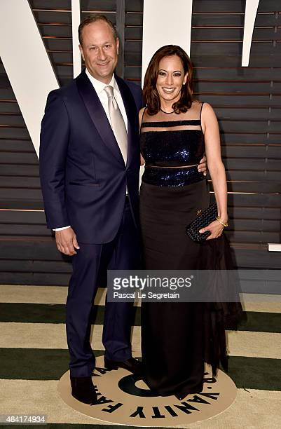 Attorney Douglas Emhoff and California Attorney General Kamala Harris attend the 2015 Vanity Fair Oscar Party hosted by Graydon Carter at Wallis...