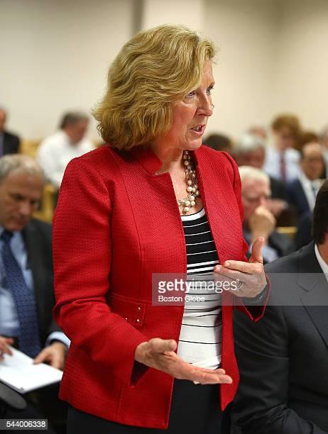 Attorney Elizabeth B Burnett represents Shari E Redstone not pictured Attorneys representing various factions of Sumner M Redstone's family argue...