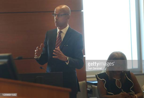 Attorney Eugene Pettis, representing Broward County Supervisor of Elections Dr. Brenda Snipes, makes his argument during an emergency hearing between...