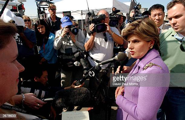 Attorney for Amber Frye Gloria Allred answers questions from the media after the court took a lunch break at the Stanislaus County Superior...