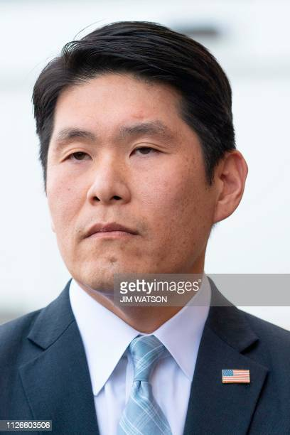 US Attorney for Maryland Robert Hur speaks outside the US Court House in Greenbelt MD on February 21 after US Coast Guard Lt Christopher Hasson of...