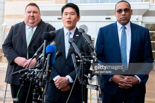 US Attorney for Maryland Robert Hur speaks with FBI Special Agent In Charge of the Baltimore Field Office Gordon Johnson and US Coast Guard...