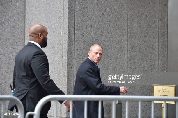 Attorney for Stormy Daniels Michael Avenatti arrives for a court hearing at the US Courthouse in New York on April 16 2018 President Donald Trump's...