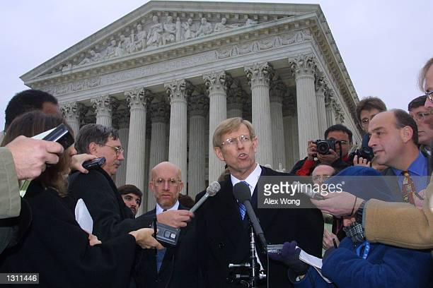 Attorney for the Bush Campaign Theodore Olson speaks to reporters December 11, 2000 outside the US Supreme Court in Washington, D.C. The U.S. Supreme...