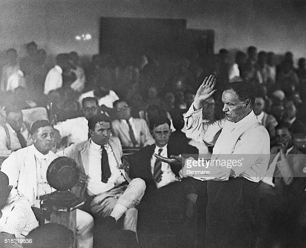 Attorney for the defence Clarence Darrow emphatically makes a point during the trial of John Scopes the socalled Monkey Trial for teaching evolution