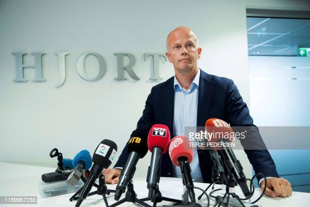 Attorney for the family of kidnapped AnneElisabeth Falkevik Hagen the wife of a Norwegian multimillionaire Svein Holden gives a press conference on...