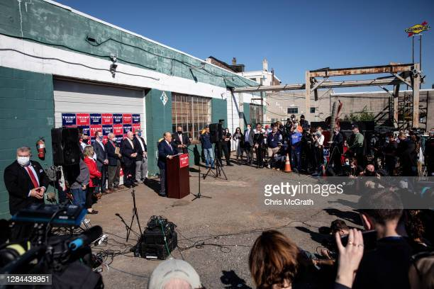 Attorney for the President, Rudy Giuliani speaks to the media at a press conference held in the back parking lot of Four Seasons Total Landscaping on...