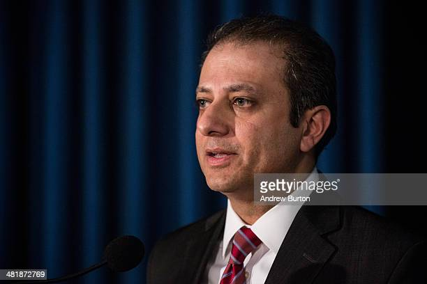S Attorney for the South District of New York Preet Bharara speaks at a press conference at the US Attorney's Office for the Southern District of New...
