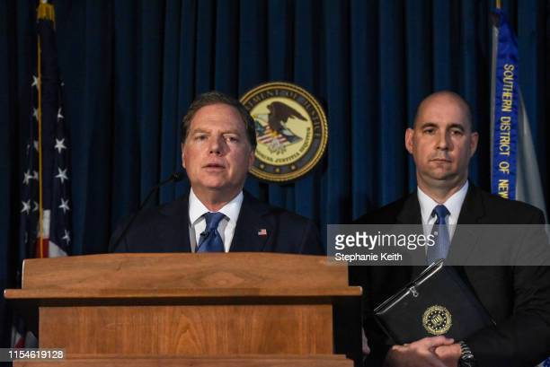Attorney for the Southern District of New York Geoffrey Berman announces charges against billionaire financier Jeffery Epstein on July 8 2019 in New...