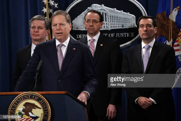 S Attorney for the Southern District of New York Geoffrey Berman speaks as FBI Director Christopher Wray US Deputy Attorney General Rod Rosenstein...