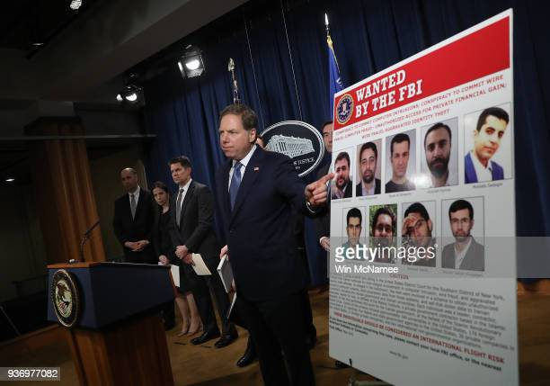 S Attorney for the Southern District of New York Geoffrey Berman speaks at a press conference at the Department of Justice March 23 2018 in...