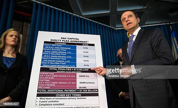 S Attorney for the Southern District of New York Preet Bharara speaks at a press conference to announce a proposed resolution to insider trading and...