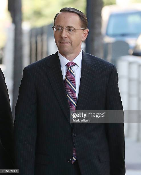 Attorney for the State of Maryland Rod J Rosenstein arrives for a hearing at US District Court October 17 2016 in Washington DC Retired Marine Gen...