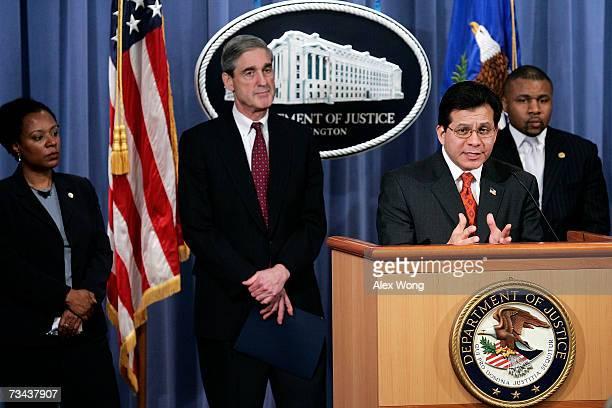 S Attorney General Alberto Gonzales speaks as National Urban League Executive Director Stephanie Jones FBI Director Robert Mueller and NAACP Chief...