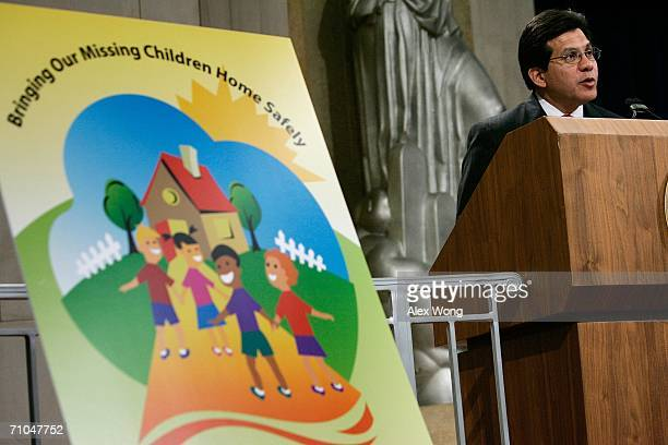 S Attorney General Alberto Gonzales speaks during the 2006 National Missing Children's Day Ceremony at the Justice Department May 25 2006 in...